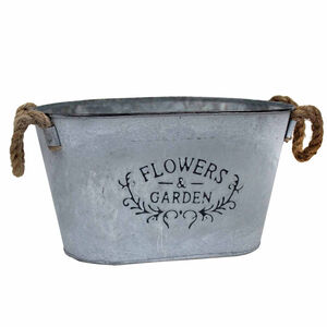 Flowers & Garden Oval Bucket With Rope Handles