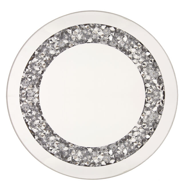 Crushed Silver Mirror 25cm