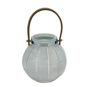 Large Blue Glass Lantern with Leather Strap