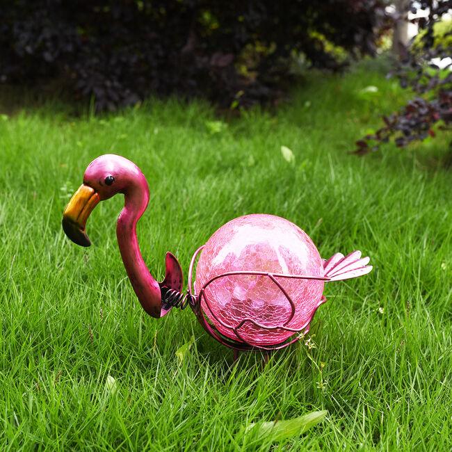 Flamingo Crackle Ball Solar Light