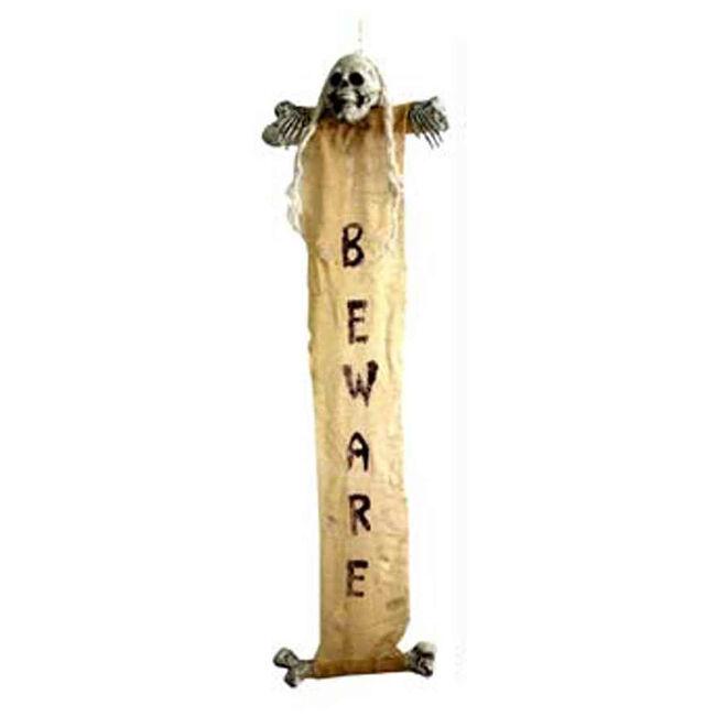 Hanging Skeleton Warning Scroll