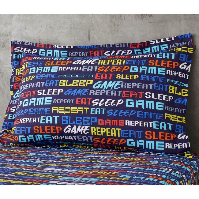 Eat Sleep Game Oxford Pillowcase Pair - Navy