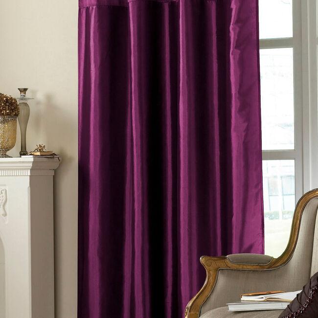 Embroidered Purple Taffeta Curtain