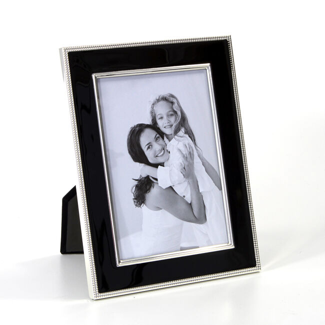 Silver Plated Black Enamel Photo Frame