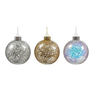 Assorted Glitter Bauble Tree Decoration - 8cm