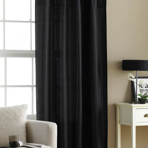 Embroidered Black Taffeta Curtain