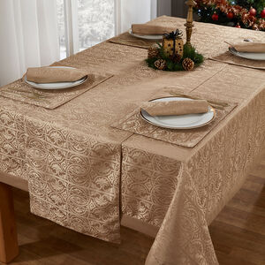 Gatsby Damask Table Cloth Gold 160 x 183cm