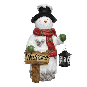 Snowman With Lantern and Merry Christmas Sign