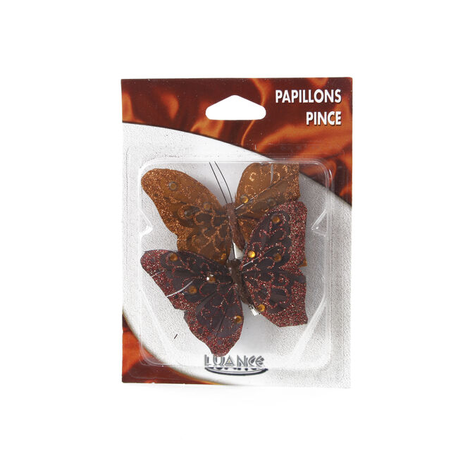 Butterfly Brown Curtain Clips 2 Pack