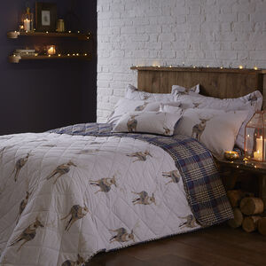 Checkered Stag Navy Bedspread 200cm x 220cm