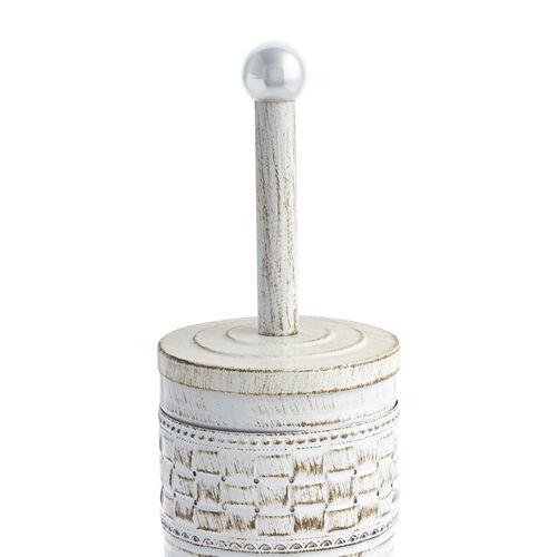Aged White Mosaic Toilet Brush Holder