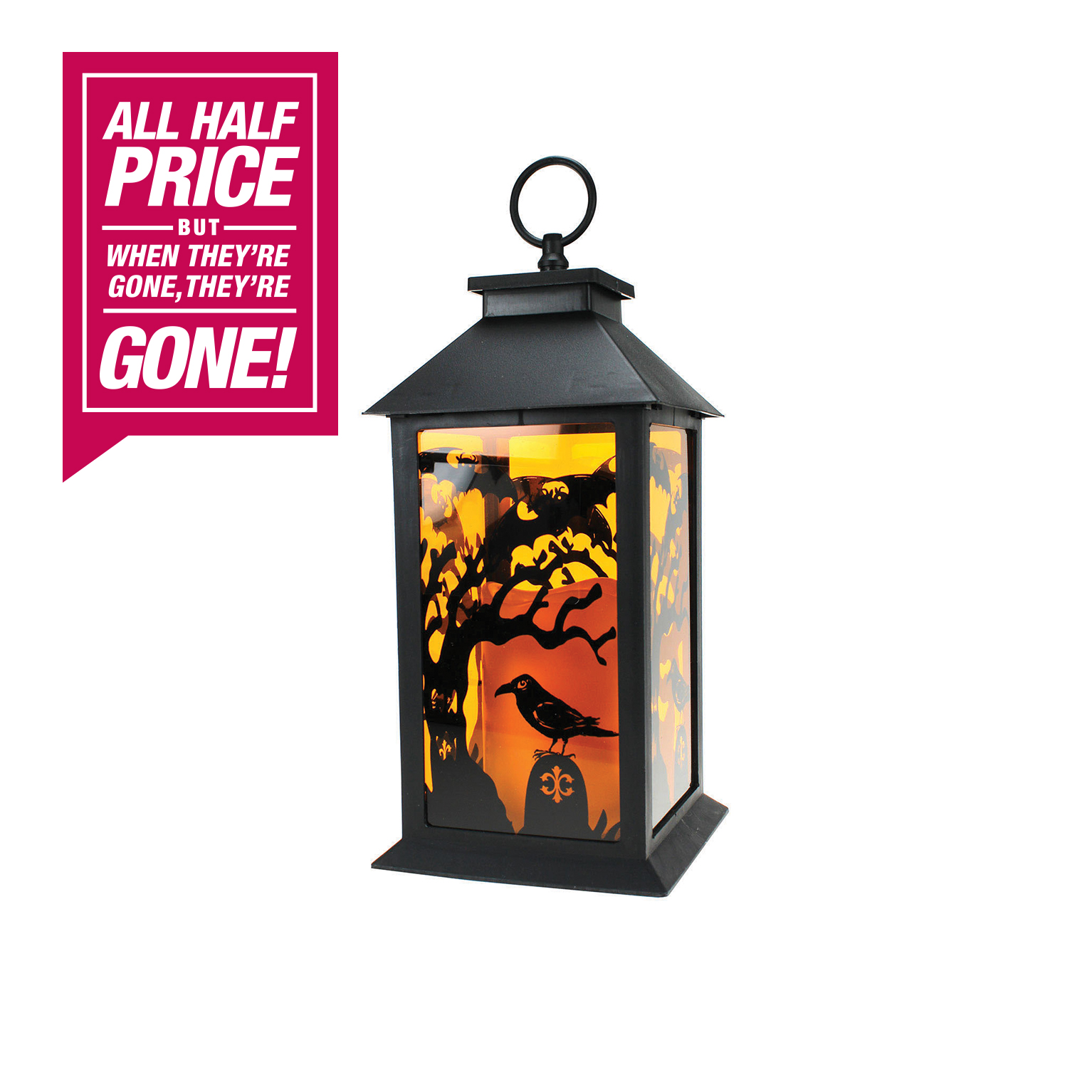 halloween lantern with flameless candle - home store + more