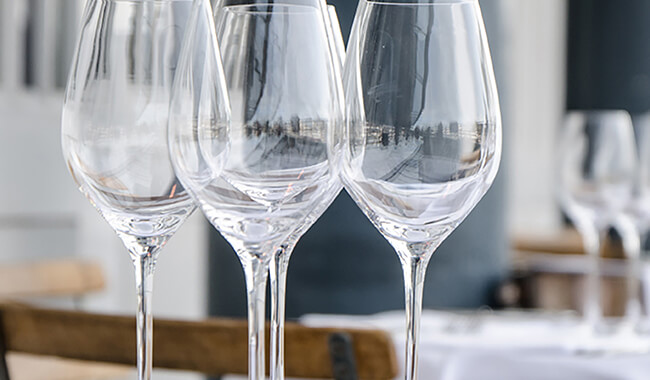 wine glasses and tableware