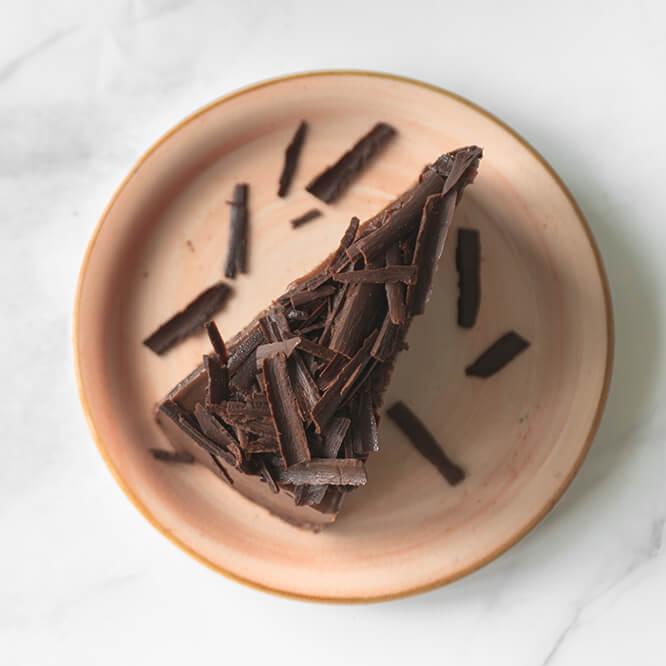Glazed Chocolate Cake with Vanilla Buttercream & Chocolate Curls