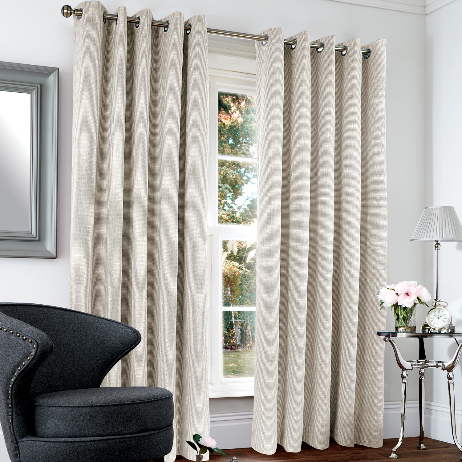 images blackout thermal basketweave grey 66x72 curtain - Thermal Curtains