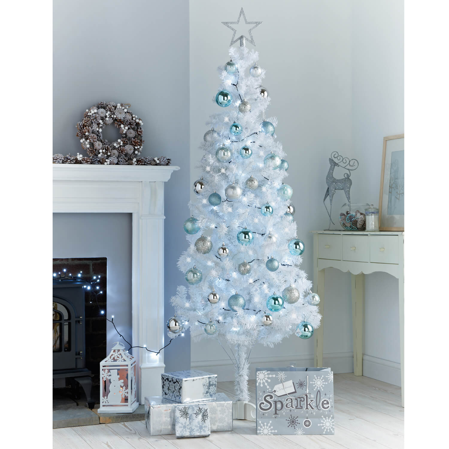 Images 6ft White Slim Christmas Tree