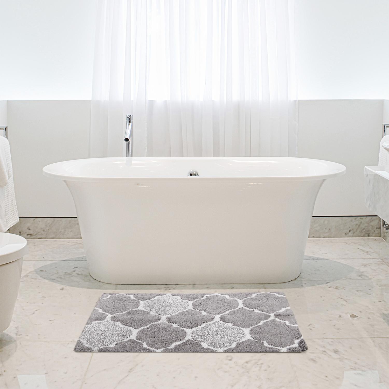 Trellis Bath Mat 50 X 80cm Grey Home Store More