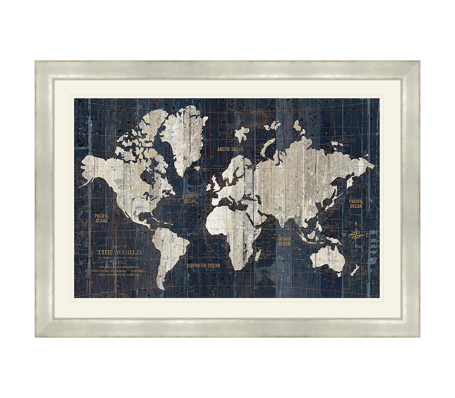 Old World Map Framed 69x49cm Home Store More