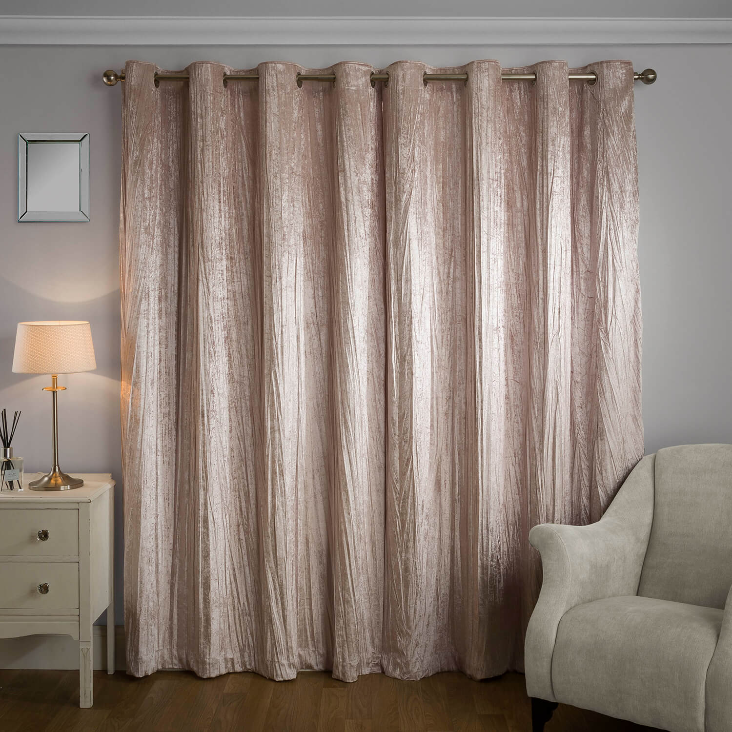 CRINKLE BLUSH 66x54 Curtain