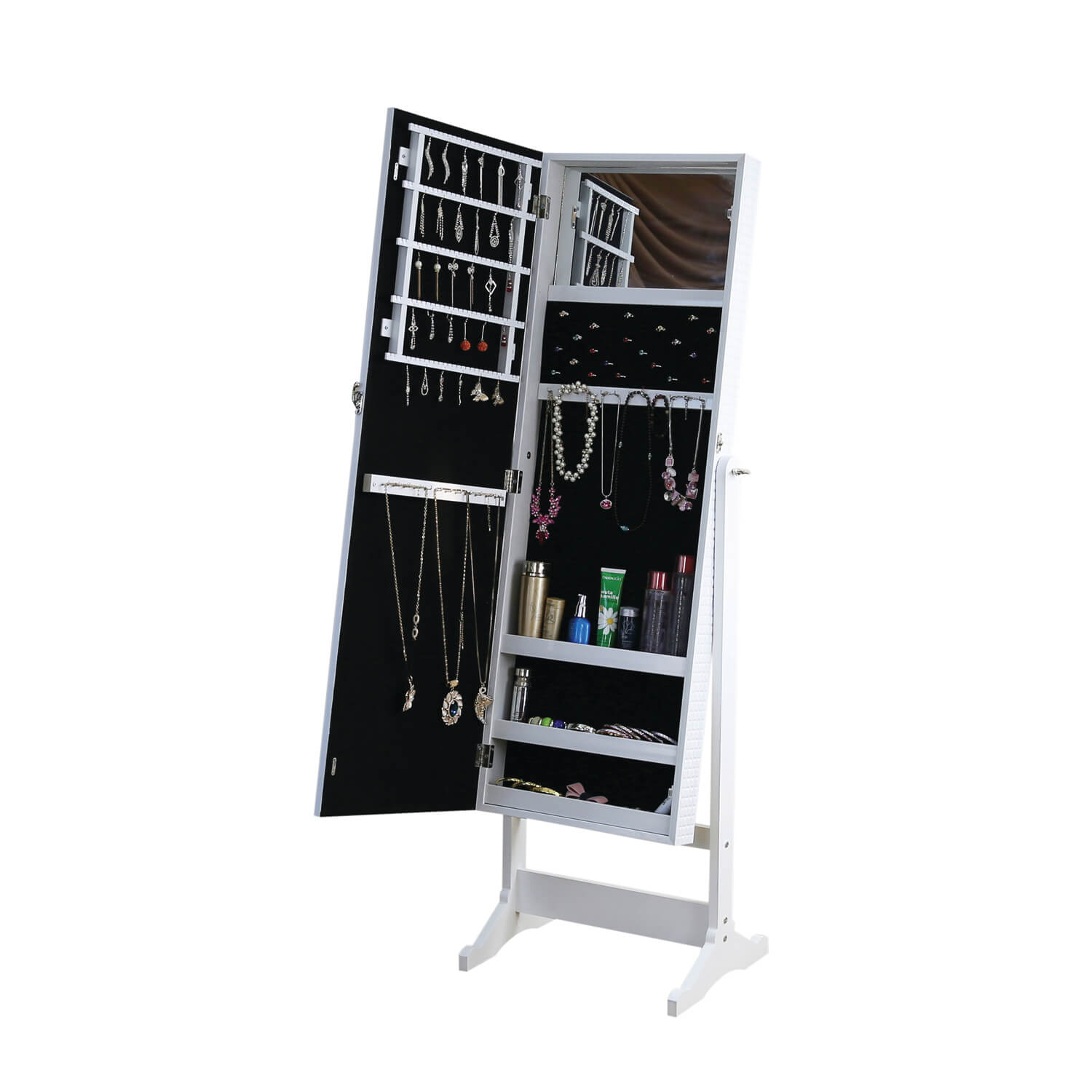 Cannon quilted white mirrored jewellery cabinet tap to expand