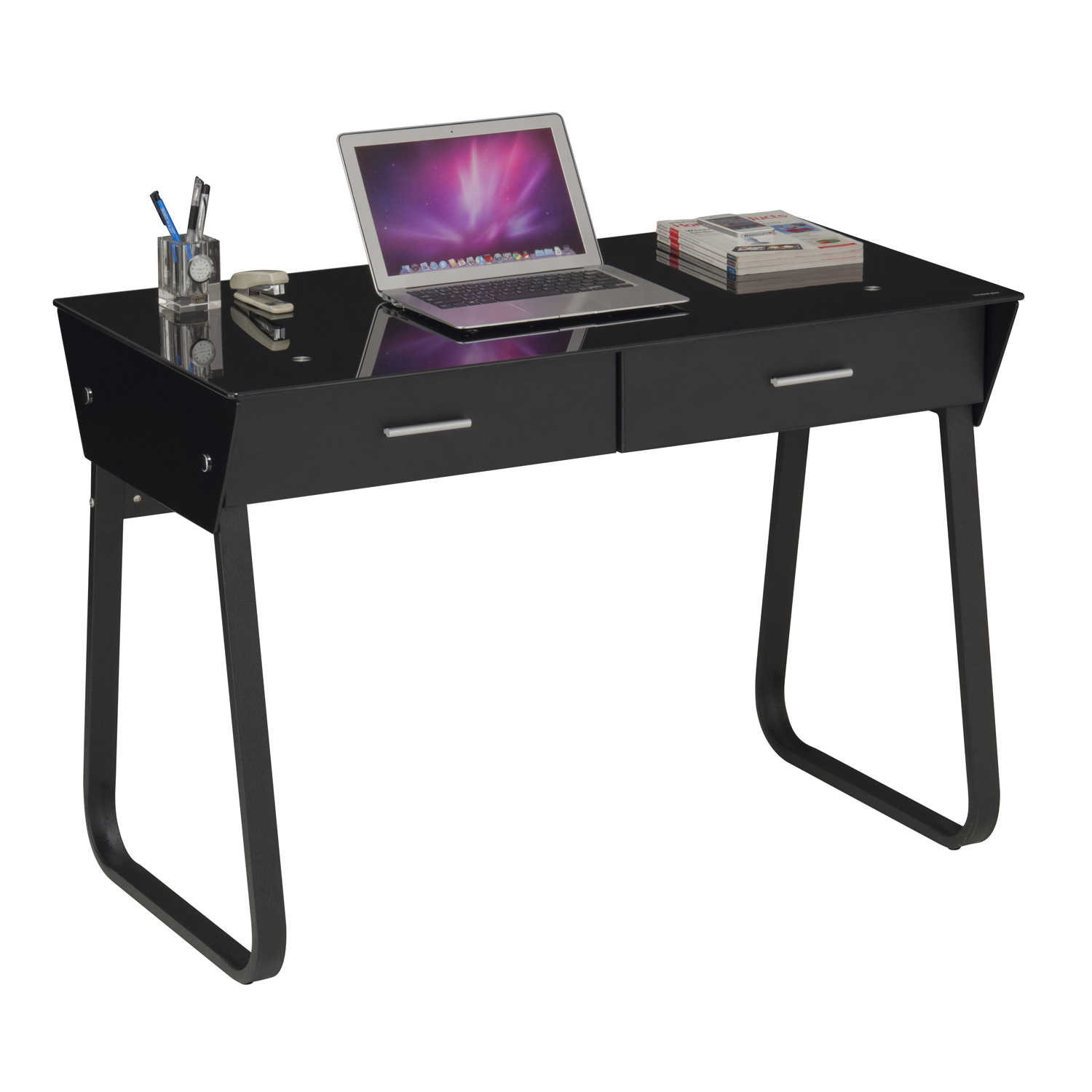 Black Computer Desk Metal And Glass Home Store More