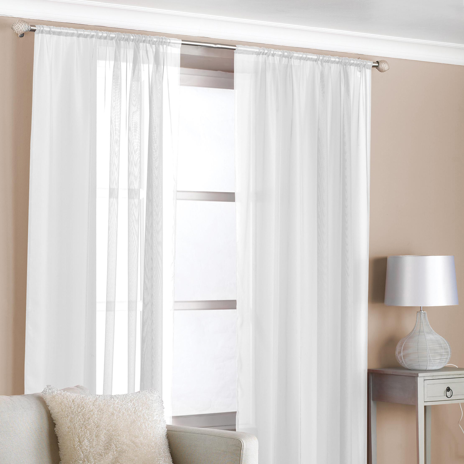 slot top voile curtains white 2 pack home store more. Black Bedroom Furniture Sets. Home Design Ideas