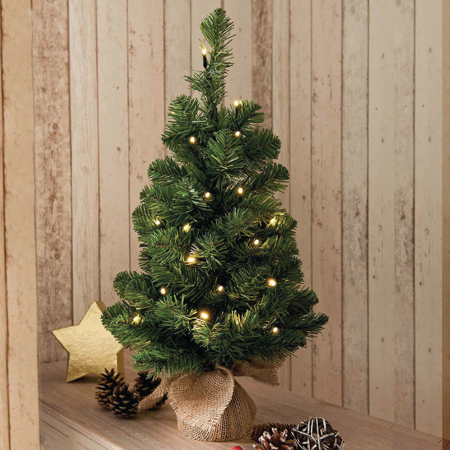 pre lit christmas tree with hessian base tap to expand