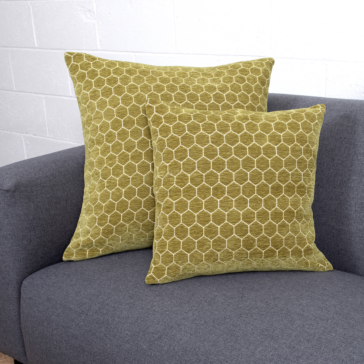 Honeycomb Cushion 58x58cm - Olive Green