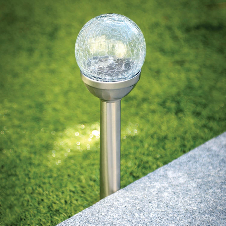 crackle ball post solar light home store more. Black Bedroom Furniture Sets. Home Design Ideas