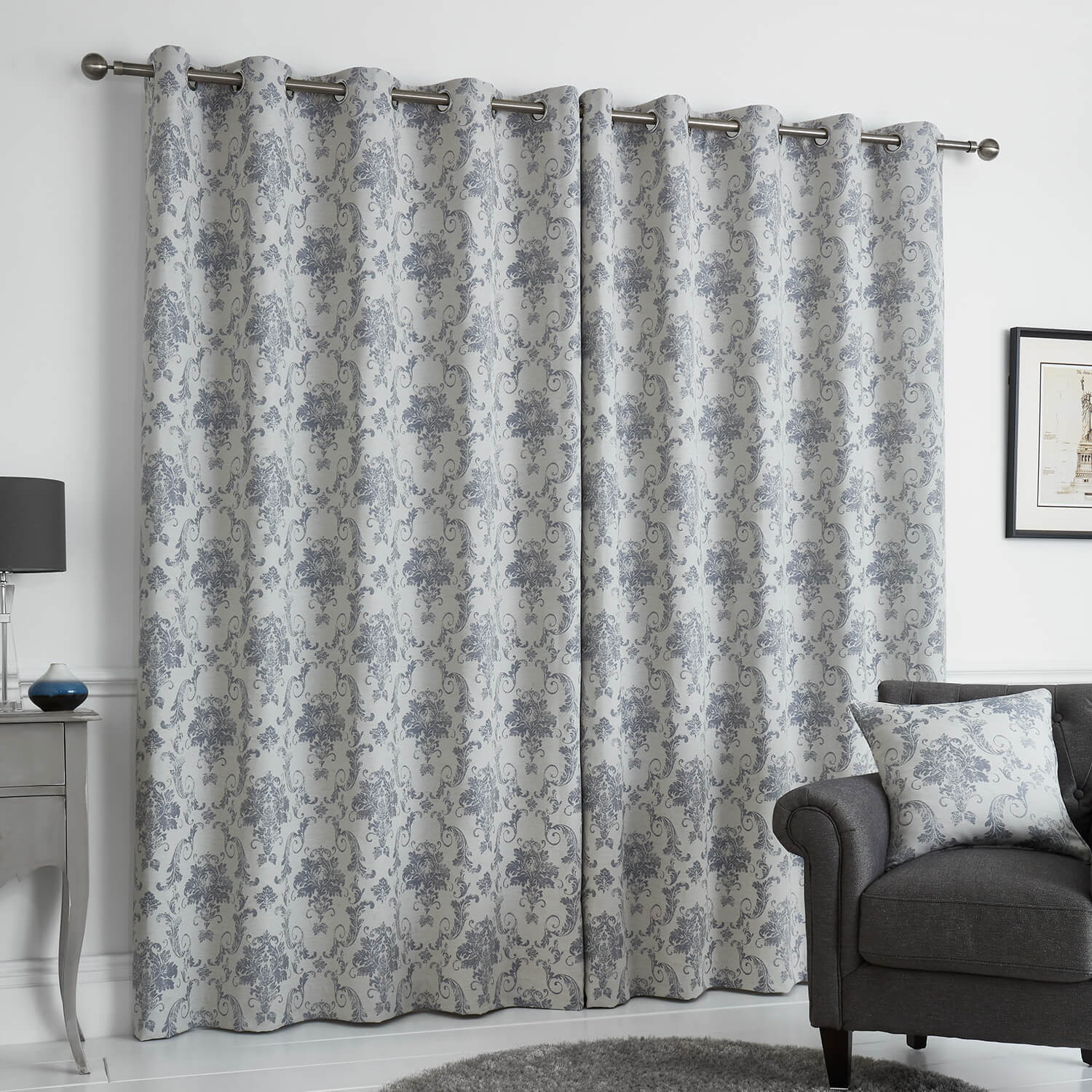 DISTRESSED DAMASK BLUE 66x54 Curtain