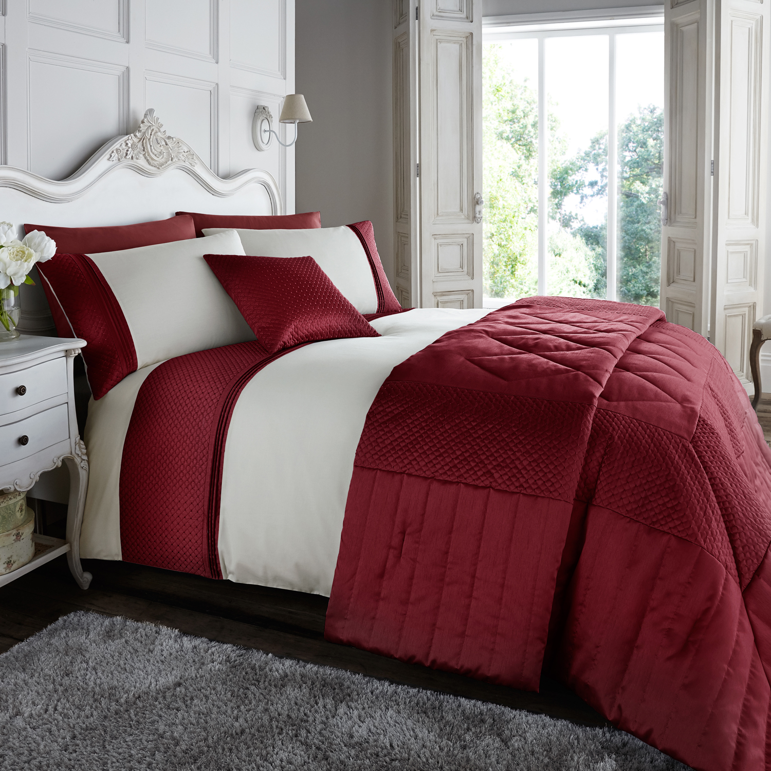 set range red product quilt cover printed paisley duvet bedding linens