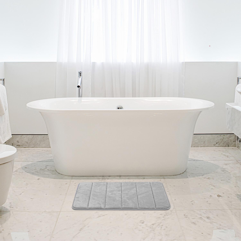 Memory Foam Bath Mat 40x60cm Dove Grey Home Store More
