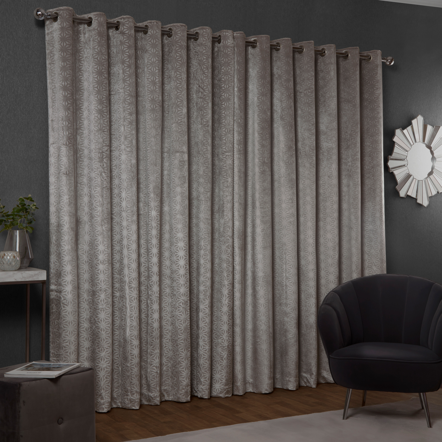 BLACKOUT & THERMAL EMBOSSED SILVER 66x72 Curtain