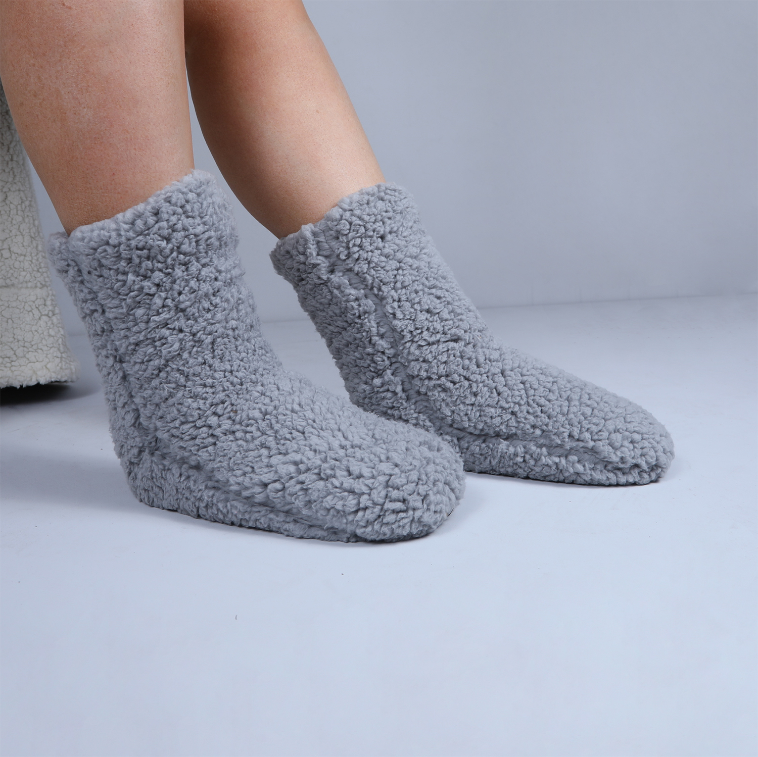 Teddy Socks Pair - Steel