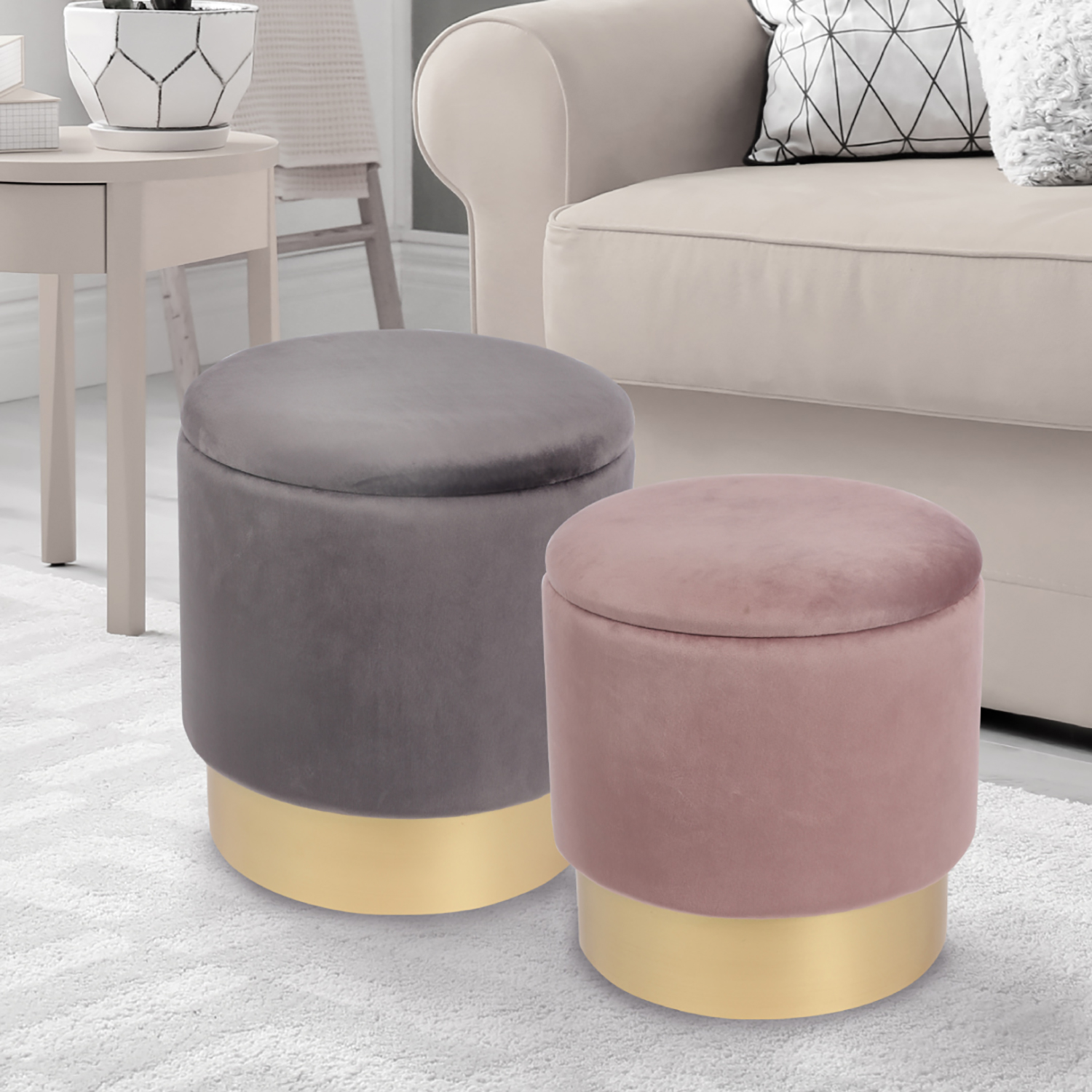 Amazing Karla Two Tone Stools Grey Pink Set Of Two Home Store More Pabps2019 Chair Design Images Pabps2019Com