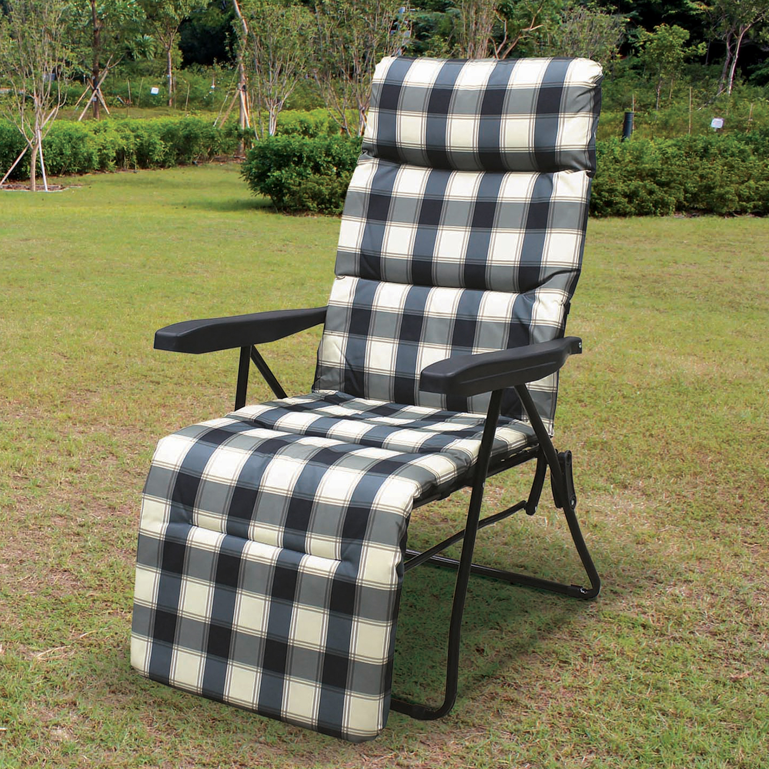 Padded Check Relaxing Chair. Click To Zoom
