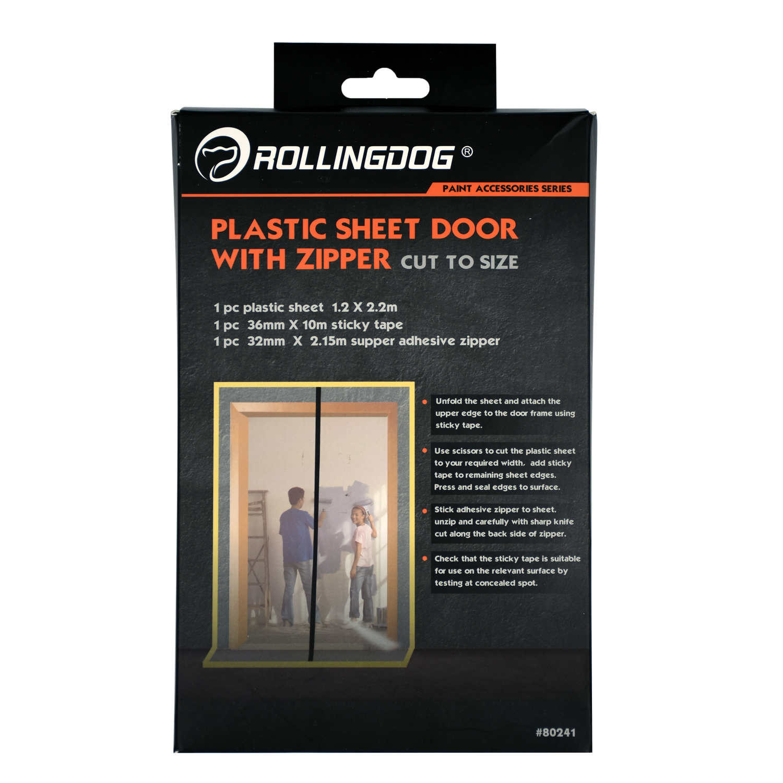 Rolling Dog Plastic Sheet Door With Zipper 098238