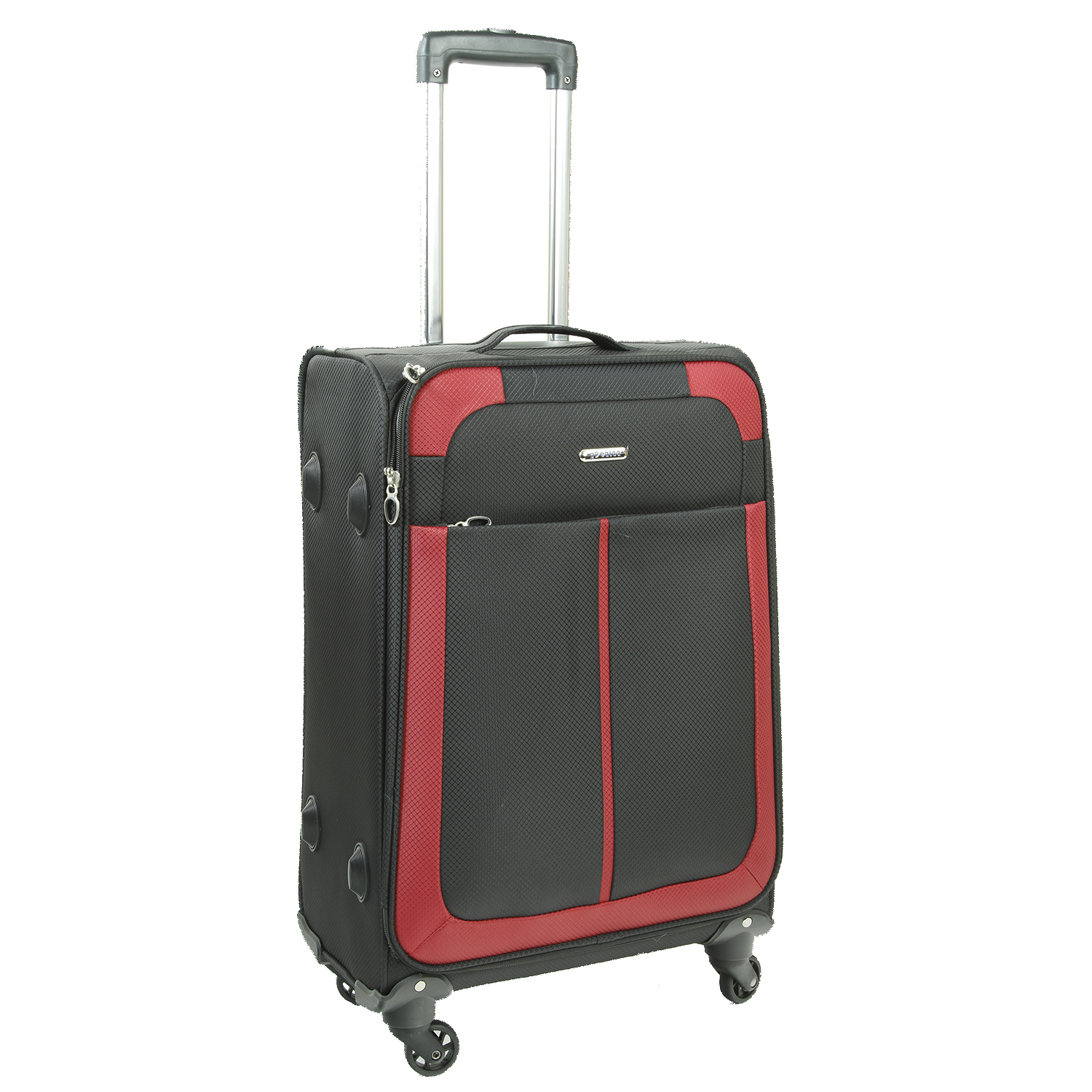 d7f92cd017a6 Medium Black and Red Lightweight Suitcase 076400