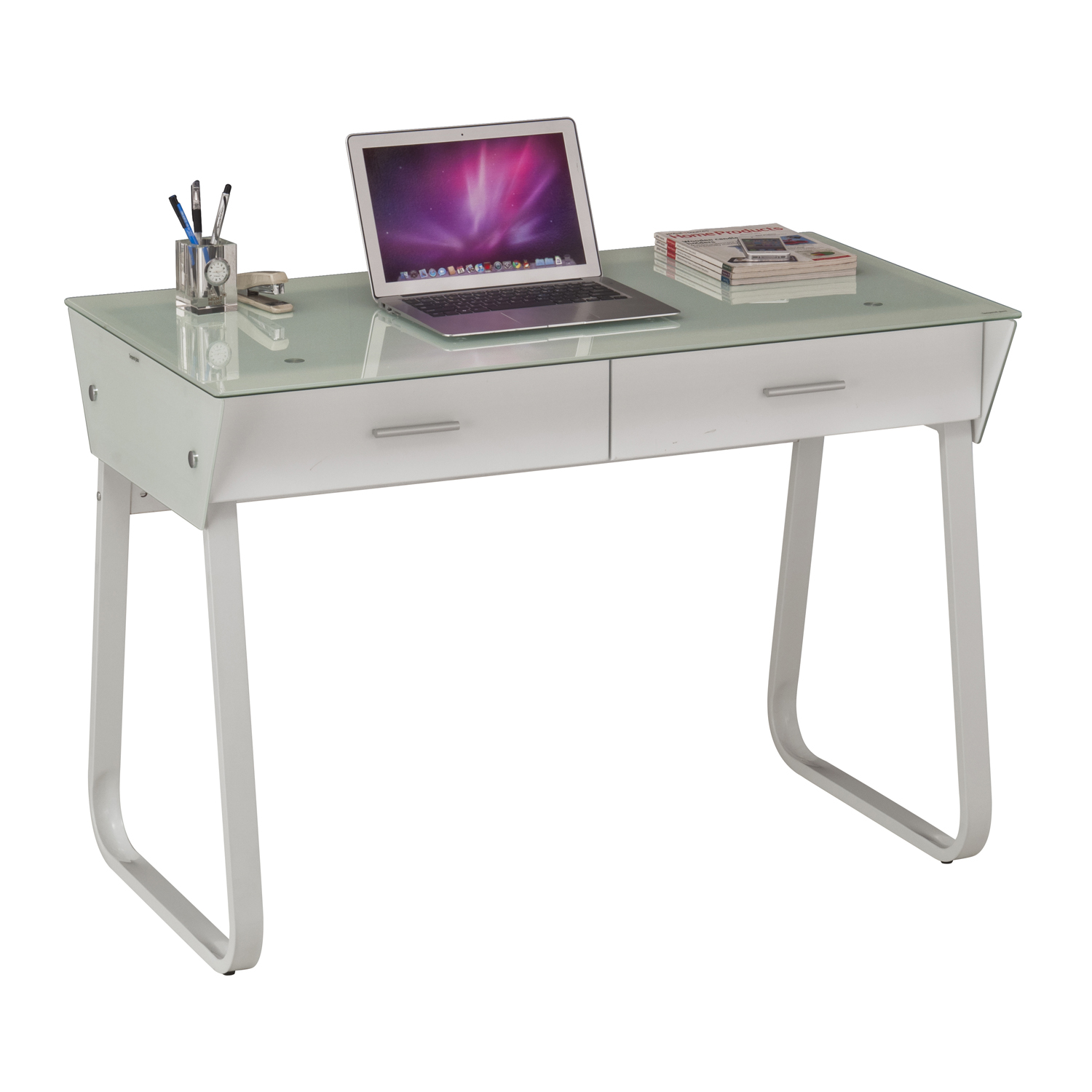 White Computer Desk Metal And Glass Home Store More