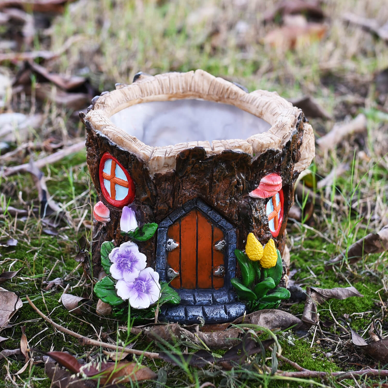 Tree Trunk Fairy House Plant Pot