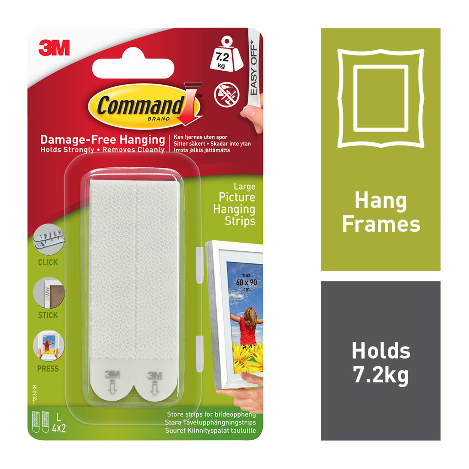 Command 4pk Large Picture Hanging Strips Home Store More