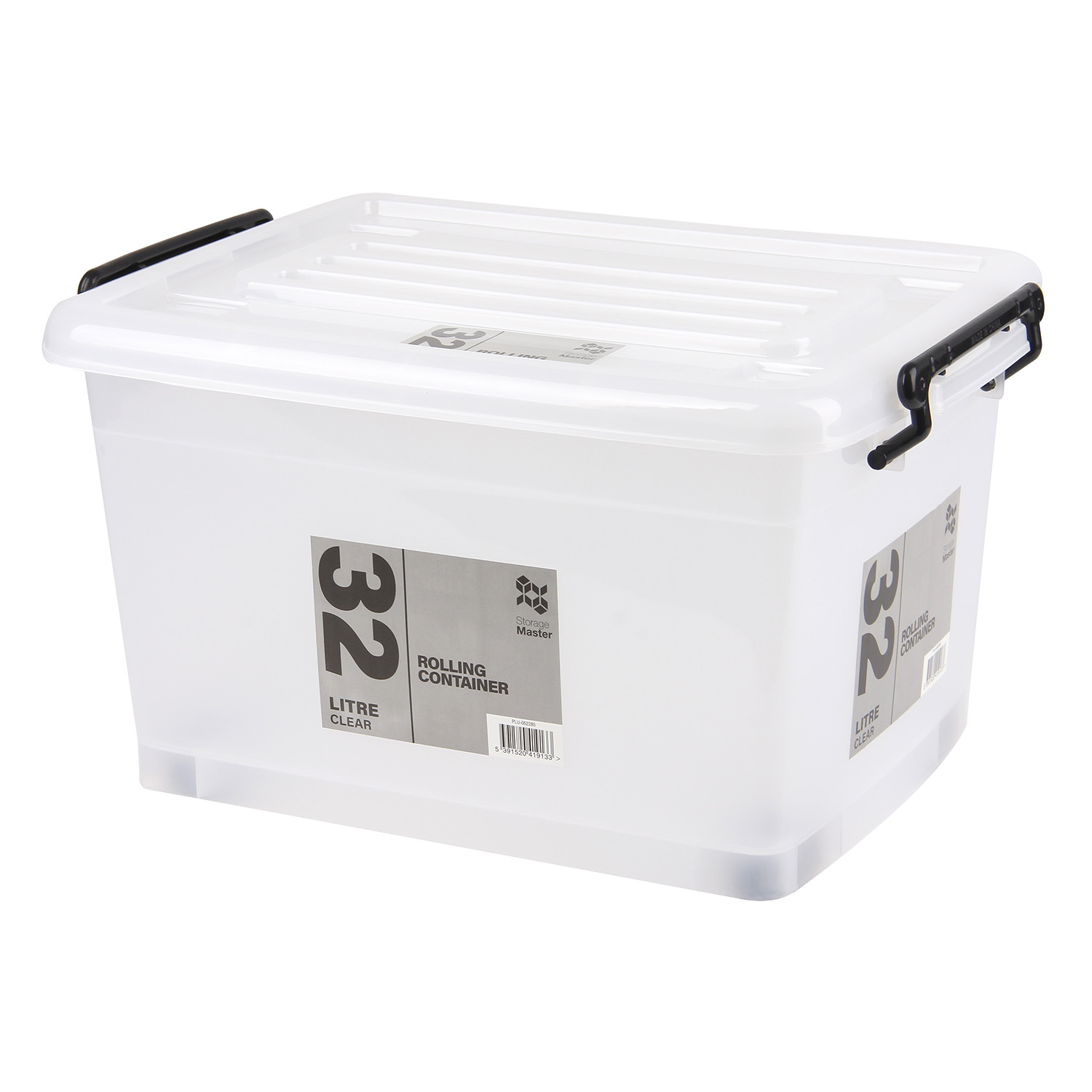 Rolling Storage Container 32L - Clear