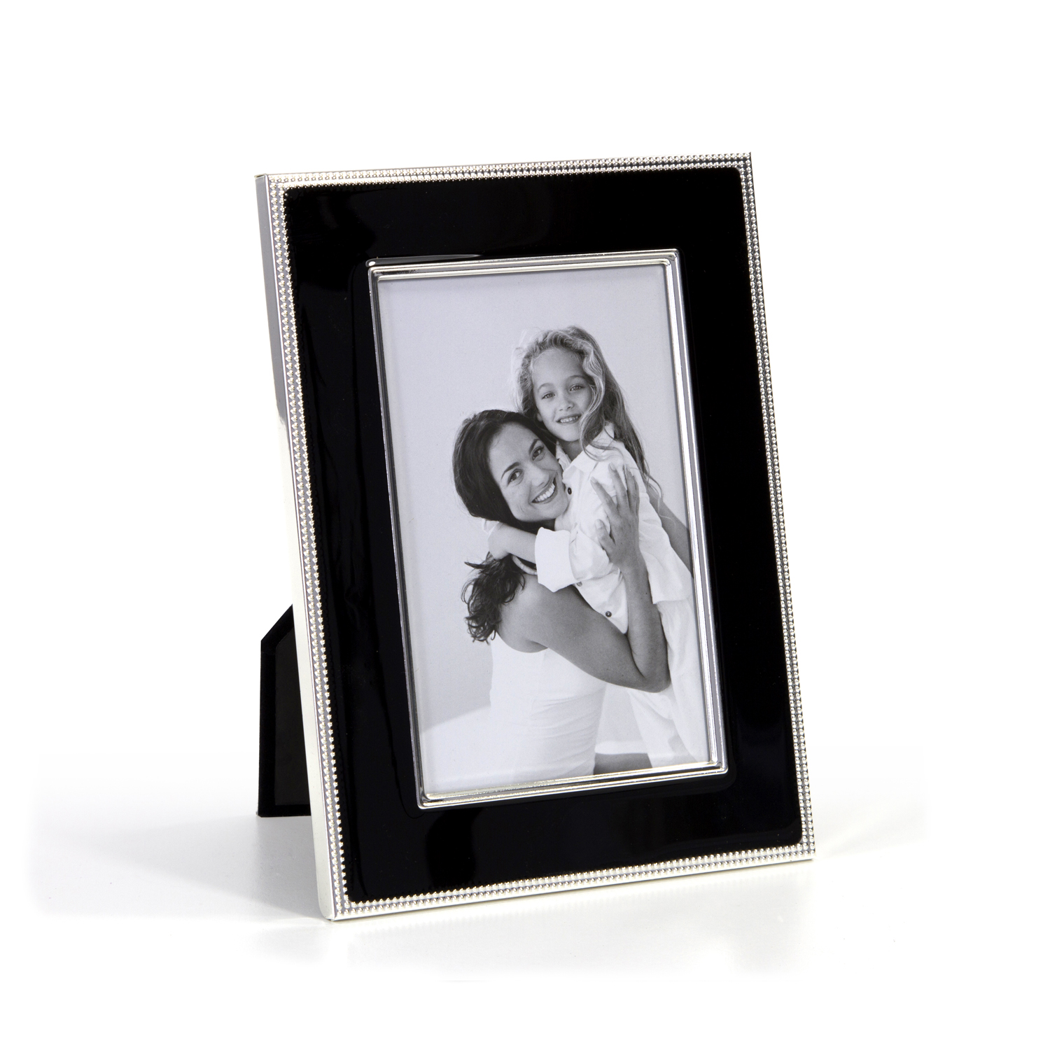 Silver Plated Black Enamel Photo Frame Home Store More