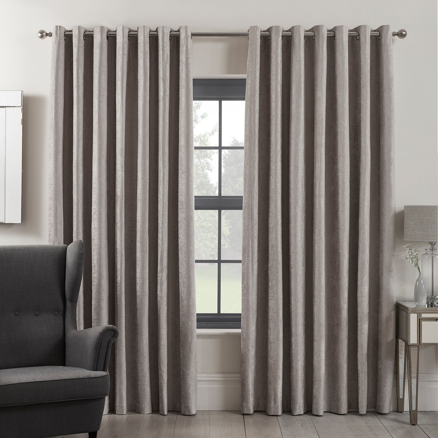BLACKOUT & THERMAL TEXTURED SILVER 66x90 Curtain