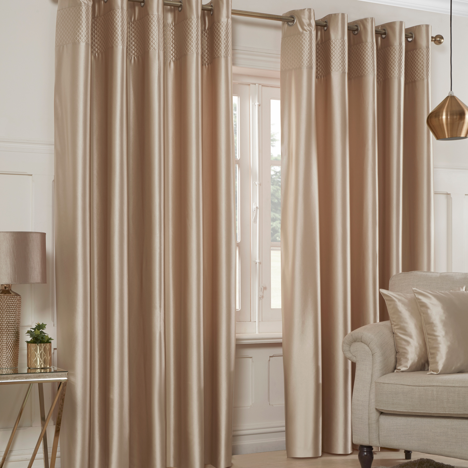 LUCCA FAUX SILK GOLD 66X54 CURTAIN