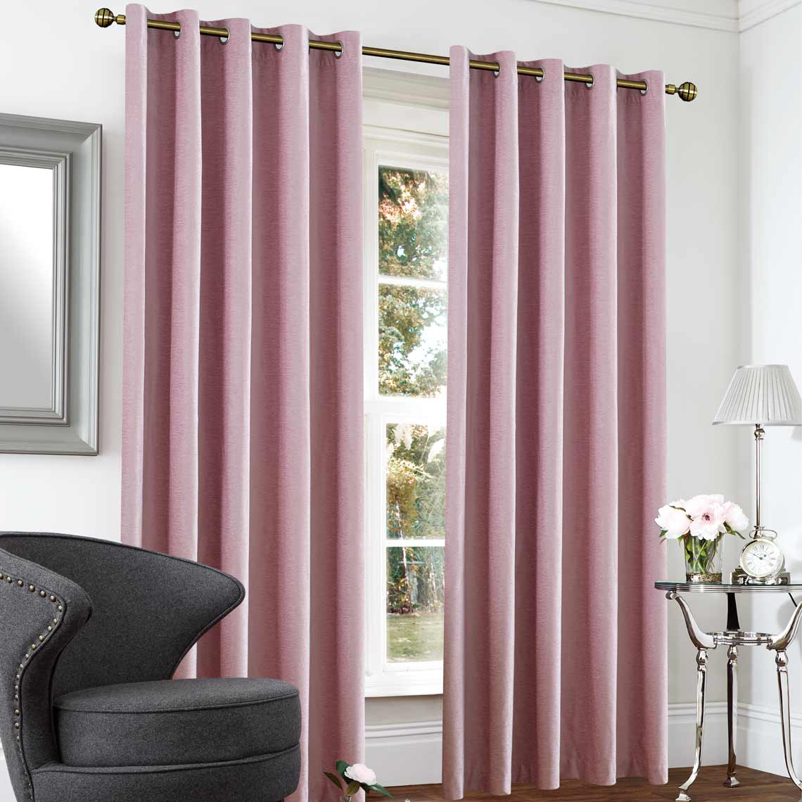 Blackout & Thermal Textured Rose Curtains